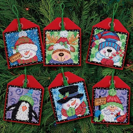 Cute christmas characters designs made from counted cross stitch, for hanging on Christmas trees