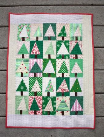 Quilted Wall hanging decoration containing Christmas tree patterns