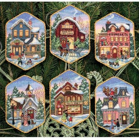 Cute Christmas scenes made with counted cross stitch