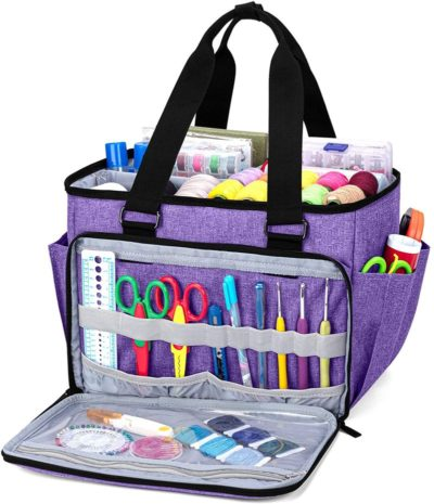 Purple sewing accessories oorganizer- helps you carry your sewing accessories wherever you go