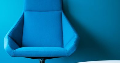 blue sewing chair on a blue background