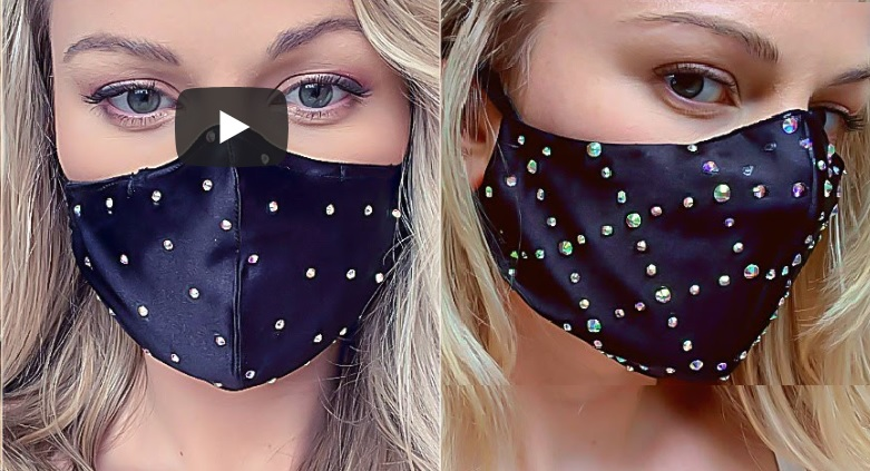 Classy face mask, blue facemask designed with crystals and rhinestones