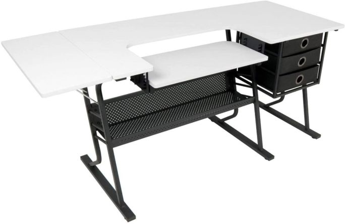 White and black sewing table with black cabinets