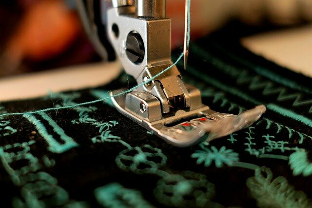 Sewing machine being used on a fabric