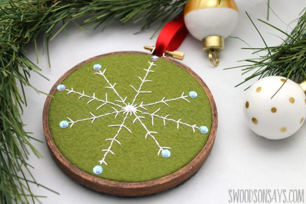 Green and white Snowflake Christmas decoration for hanging on christmas tree or around the house