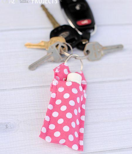 Pink chapstick lipstick keychain holder
