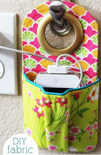 green phone charging station made of fabric