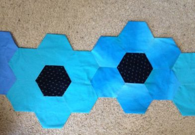 Blue and black Hexies sewn together