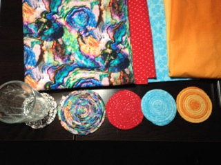 Set of cord coasters, red, blue, orange and multicolored coasters